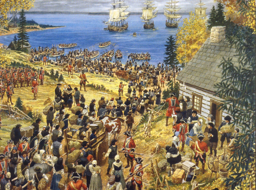Artist's interpretation of the expulsion of the Island's Acadians in 1758.  Shown here is a likeness of the captial of Port la Joie.