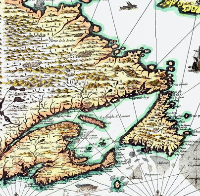Is it a bird?  A plane?  No, it's just Champlain adding PEI to his map.