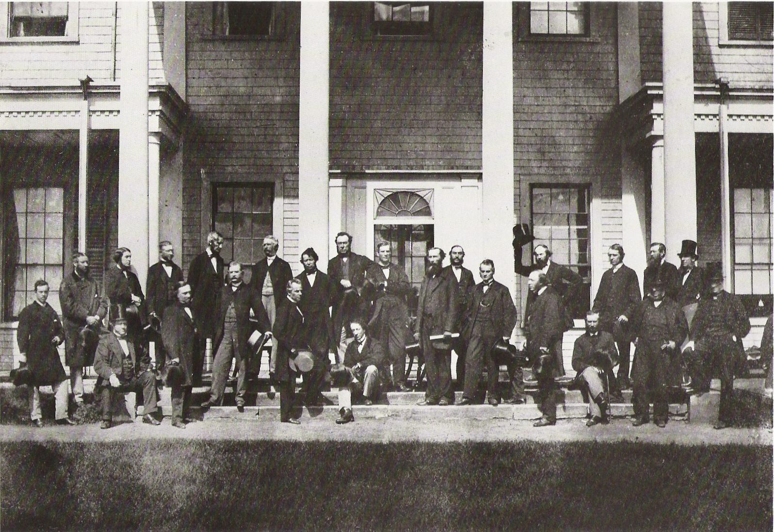 Canada's Fathers of Confederation posing on the steps of Fanningbank, the Lt. Governor's digs on the waterfront down by Victoria Park. Taken during the Charlottetown Conference in September, 1864. Note that this blog is NOT associated in any way with 2014 and the sesquicentennial (150th) celebrations. I just like the picture. And it plays on the title of the post.