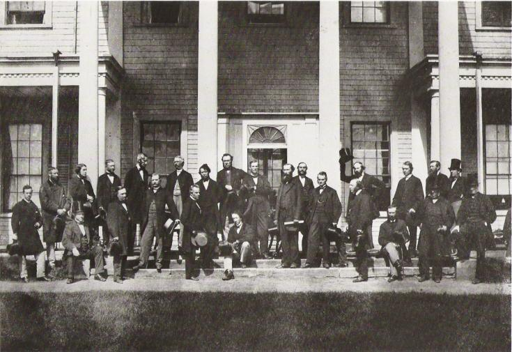 Canada's Fathers of Confederation posing on the steps of Fanningbank, the Lt. Governor's digs on the waterfront down by Victoria Park. Taken during the Charlottetown Conference in September, 1864.