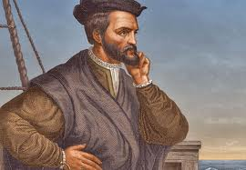 An artist's likeness of Jacques Cartier.  The beard is practically flawless.