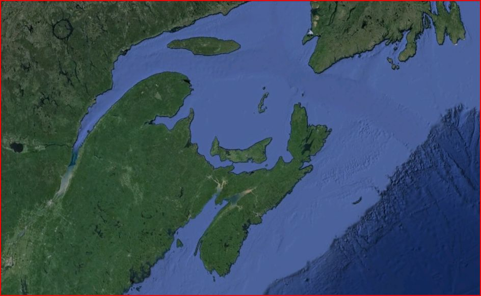 Google Earth snapshot of Atlantic Canada