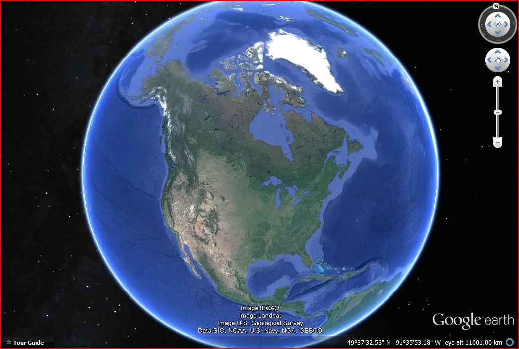 Google Earth snapshot of the North American continent.