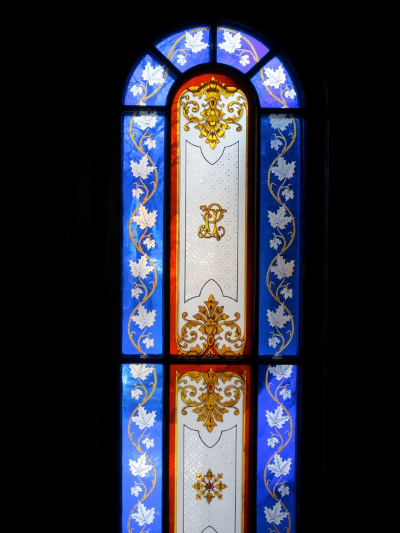 James Peake's famous stained glass window on the 2nd floor.
