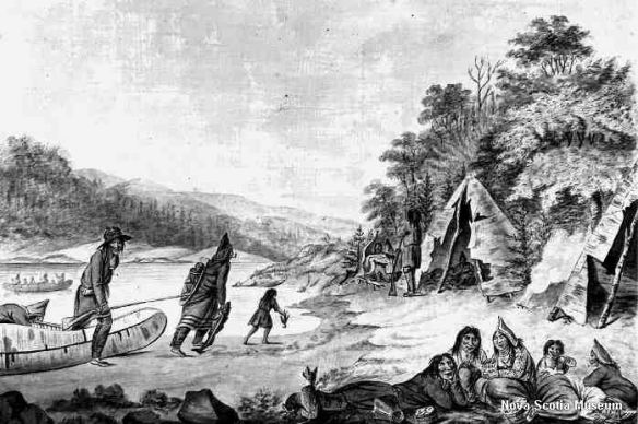 Print of a popular painting depicting a Mi'kmaq encampment.  Although it is a post-European contact view, it give a fairly good idea of their lifestyle, and although the scene is set in Nova Scotia, it would have been the same in PEI.