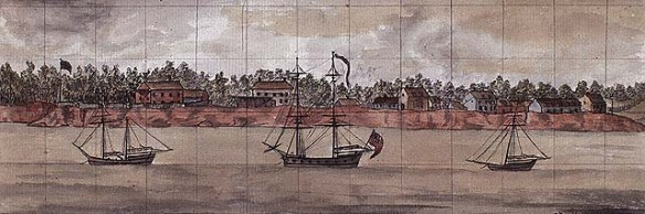 Painting of Charlottetown as it supposedly looked in the late 1770s.