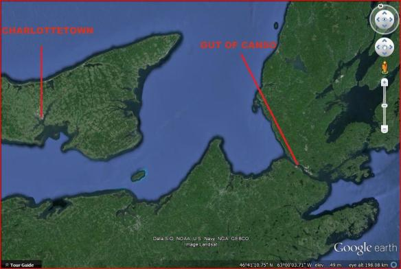 Satellite imagery showing the location of Charlottetown relative to the Gut of Canso.