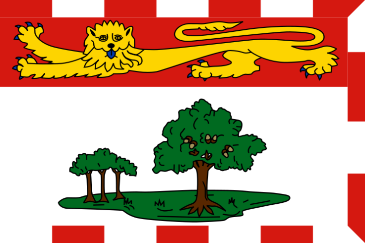 Provincial flag of Prince Edward Island. The large oak tree represents Great Britain, which shelter a trio of oak saplings that symbolize the Island's three counties: Prince, Queens, and Kings, all surmounted by a heraldic lion. Although the flag was adopted in 1964, it was derived from the provincial coat of arms, granted in 1905. The Island's motto, Parva Sub Ingenti (