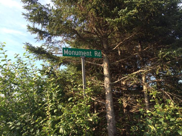 Sign for Monument Road. Green on green can make it difficult to see.