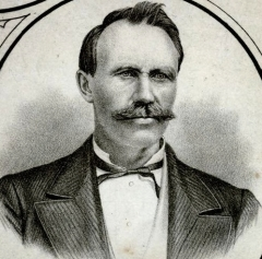 Engraving of John L. McKinnon, taken from Meacham's Atlas of 1880. A former schoolteacher, McKinnon founded the Alberton Pioneer in 1878, a paper that would, through many twists and turns, eventually amalgamate with the Summerside Journal in 1951 to from the Journal-Pioneer.