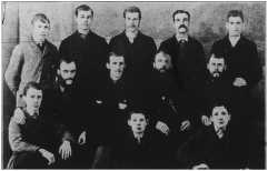Photograph of the Summerside Journal staff c.1882. Seated in the middle row, second from the right is William Arthur Brennan, who took the Journal to new heights and established a three-generation family dynasty.