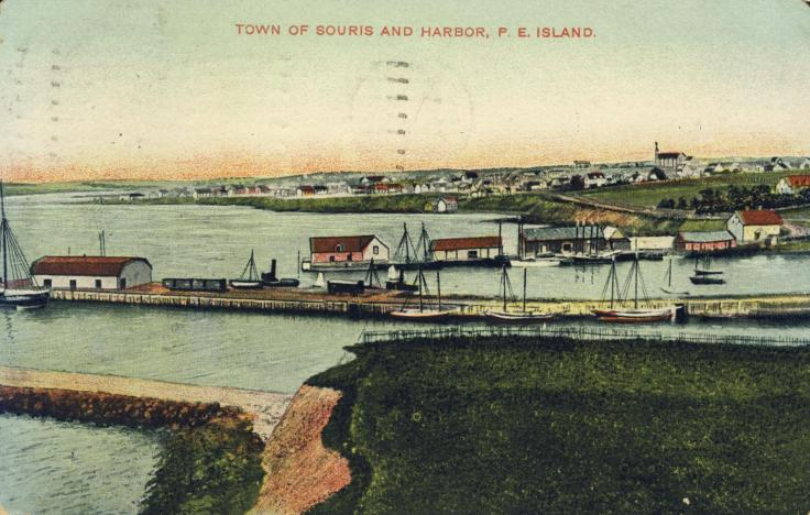 Postcard depicting the Town of Souris c.1910, around the time of its incorporation.