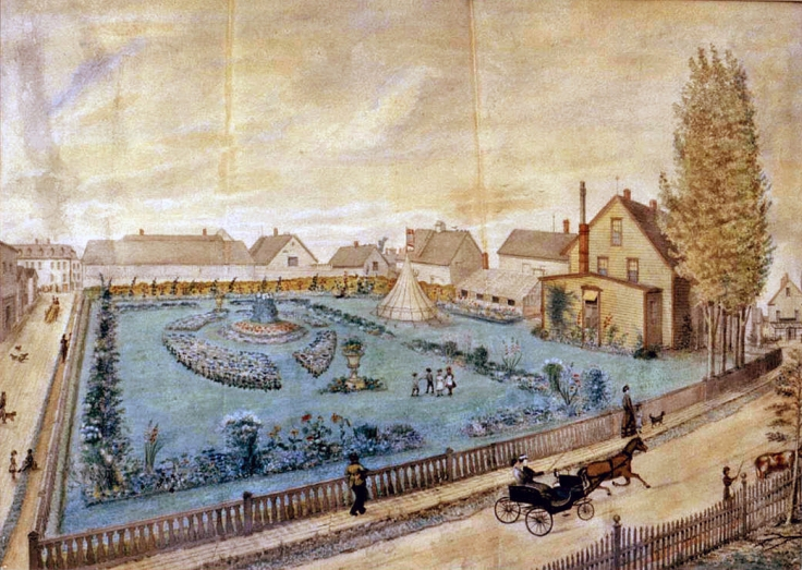 Depiction of the Holman Homestead and Gardens by George Ackermann c.1875. Acquired by the Prince Edward Island Museum and Heritage Foundation, although it has undergone extensive restoration damage is still visible. Kind thanks to Reg Porter for providing this scan.