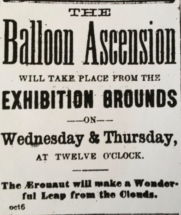 Advertisement in the Examiner promoting Spencer's balloon ascensions.
