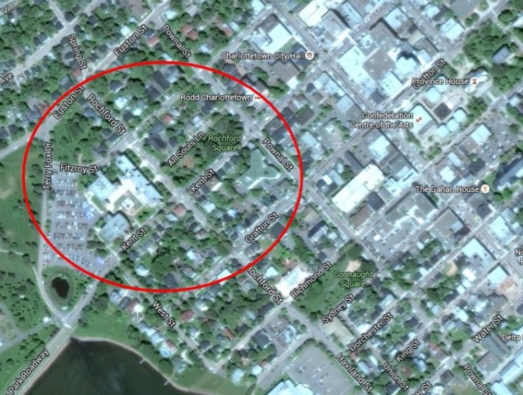 Present-day satellite imagery of Charlottetown. The Bog falls within the encircled area.