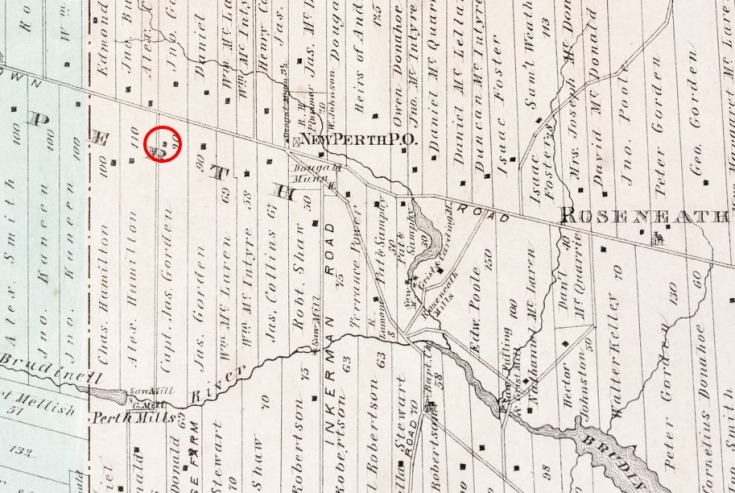 Detail of New Perth and surrounding areas culled from Meacham's 1880 Illustrated Historical Atlas of Prince Edward Island. The home occupied by the Gordon family is circled in red.