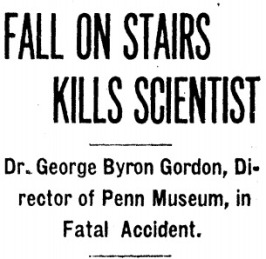 Headline in the Washington, D.C. 'Evening Star' of 31 January 1927 highlighting the death of Gordon.